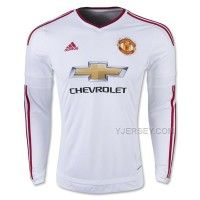 15-16 Manchester United Away White Long Sleeve Jersey Kit(Shirt+Short)