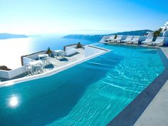 Best Honeymoon Resort Swimming Pools: Grace Santorini in Santorini, Greece Best Honeymoon Resorts, Vacation Destinations, Dream Vacations, Vacation Spots, Infinity Pools, Amazing Swimming Pools, Cool Pools, Santorini Hotels, Santorini Greece