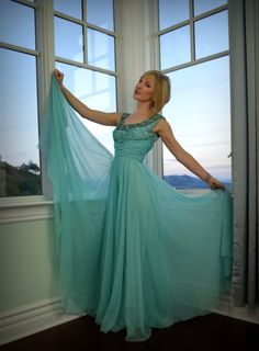 Vintage Formal Dress 60s Aqua Blue Couture Beaded by DaintyRascal, $245.00