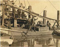 Oyster fishermen at dock (ca. 1890). | Florida Memory