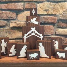 Wood Nativity Blocks Wood Nativity Set by HeartfeltByDonna More