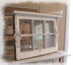 shabby window cottage wall shelf ornate iron hooks by SoShabbyJen - would look cool on my old window pane