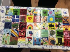 Tiles from heroes and villains day at Royston museum