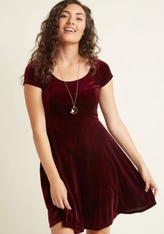 <p>Layer it up or let it shine on its own - whatever your fashion mood, this burgundy velvet skater dress will spark a feel-good day! Designed with a scoop neckline, short sleeves, princess seams, and a subtle flair to its skirt, this ModCloth-exclusive mini makes every moment marvelously stylish.</p>