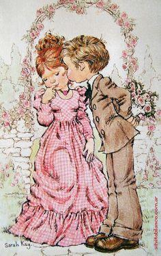 Boy kissing Girl By Sarah Kay Sarah Key, Vintage Cards, Vintage Postcards, Vintage Images, Sara Key Imagenes, Decoupage, Holly Hobbie, Illustrations, Cute Illustration