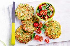 Make breakfast extra special with these golden zucchini and pea fritters.
