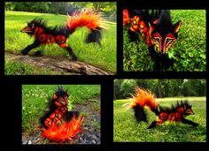 --SOLD--Poseable Hand Made FIRE WOLF! by Wood-Splitter-Lee.deviantart.com on @deviantART