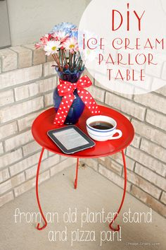 DIY Ice Cream Parlor Table via createcraftlove.com  pizza pan top with a plant stand bottom
