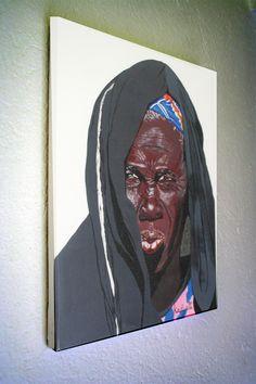 Tirage d'art sur toile d'un portrait de femme africaine : Affiche, illustration, poster, peinture  image non libre de droit