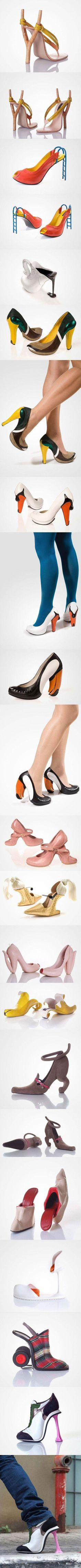 Creative High Heel Designs: Worthy of repinning just due to the artistic creativeness of it all. Don't think I would wear them but, heY....