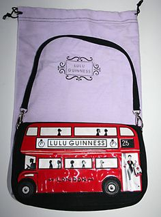 "LULU GUINNESS ""RED LONDON BUS"" MAGGY BAG...Cute"
