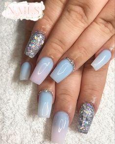#nails #nailsofinstagram #nailart #acrylicnails #ombrenails #pinknail #nailideas #girlynails #nailinspiration Pastel Blue Nails, Nailart, My Nails, Beauty