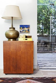 Home Tour: Inside a Colorfully Eclectic Family Home // vintage brass lamp