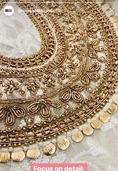 Embroidery Suits Design, Bead Embroidery Patterns, Hand Work Embroidery, Gold Embroidery, Hand Embroidery Designs, Zardosi Embroidery, Couture Embroidery, Embroidery Fashion, Maggam Work Designs