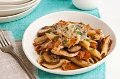 Chicken & Mushroom Penne Pasta – Tender chicken breast strips and sautéed mushrooms are added to a savory sauce. Served with penne pasta, this quick and easy weeknight dish recipe will be your go-to. Pasta Penne, Penne Pasta Recipes, Pasta Dishes, Food Dishes, Main Dishes, Chicken Recipes, Pasta Recipies, Taco Chicken, Recipe Pasta
