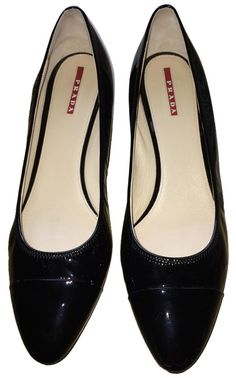 Prada Kitten Heel Patent Leather Black Pumps. Get the must-have pumps of this…