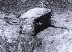"""Picture of Charlie Chaplin's coffin that was sent to his family after grave-robbers stole it & demanded a ransom. The robbers were eventually caught and charged with extortion & """"disturbing the peace of the dead""""...."""