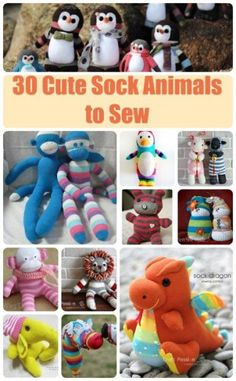 Sewing Toys - 30 cute ideas for sock animal sewing patterns. The sock monkey of course, but lots of other sock animals to sew too. Great hand-sewing fun for kids too. Animal Sewing Patterns, Sewing Patterns Free, Free Sewing, Sewing Tutorials, Fun Patterns, Plushie Patterns, Sewing Stuffed Animals, Stuffed Animal Patterns, Sock Stuffed Animals