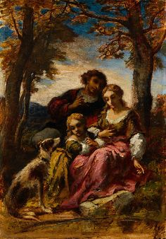 Figures and a Dog in a Landscape  Narcisse-Virgile Diaz de la Peña (French, Bordeaux 1808–1876 Menton)  Date: 1852 Culture: French Medium: Oil on wood