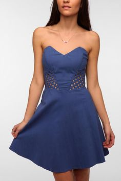 Sparkle & Fade Lattice Waist Strapless Dress #urbanoutfitters