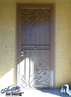 Gorgeous Wrought Iron Security Screen Door with Scrolls