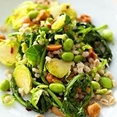 Barley with Brussels Sprouts, Spinach, and Edamame Recipe - Key Ingredient