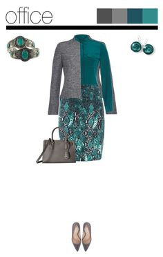 """Office outfit: Teal - Gray - Animal Print"" by downtownblues ❤ liked on Polyvore featuring MICHAEL Michael Kors, Ippolita, Rock 'N Rose, blazer, snakeskin, animalprint, pencilskirt and officewear"