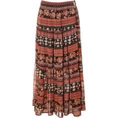 Alice & You Printed maxi skirt (125 RON) ❤ liked on Polyvore featuring skirts, bottoms, saias, long skirts, brown, clearance, long brown skirt, long brown maxi skirt, floor length skirts and patterned maxi skirt