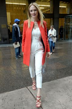 Heather Graham looked polished and stylish in a white strapless jumpsuit and orange coat in NYC. Heather Graham Hot, Strapless Jumpsuit, Bikini Pictures, Autumn Winter Fashion, Winter Style, My Girl, White Jeans, Street Style, Photoshoot