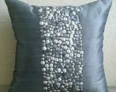Designer Brown Pillows Cover 16x16 Silk Pillow by TheHomeCentric