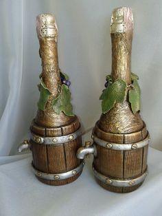 Декор бутылок.L.Atr.2016. Солёное тесто. Recycled Wine Bottles, Wine Bottle Art, Wine Bottle Crafts, Bottle Vase, Diy Crafts Slime, Slime Craft, Clay Crafts, Altered Bottles, Antique Bottles