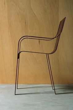 FT Architects's steel chair, laser cut and folded from a single rectangular template, 2007