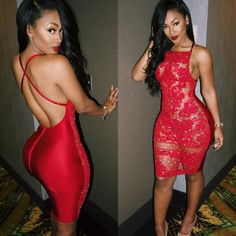 Open Back Red Lace Dresses 2018 // Red Bodycon Dress 2018 // Red party Dress 2018 / Red Sexy Dress Sexy Outfits, Sexy Dresses, Cute Outfits, Fashion Outfits, Tight Dresses, Dress Fashion, Miracle Watts, Dress Up, Bodycon Dress
