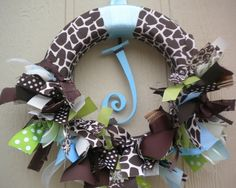Giraffe baby boy ribbon wreath in greens and blues for hospital door, nursery, and baby shower.