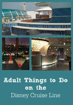 Youll find lots of fabulous things for families and kids to do on board a Disney Cruise Line vacation. However, there are plenty of activities offered just for adults, including classes, spas, bar hopping and more! Disney Fantasy Cruise, Disney Dream Cruise, Disney Cruise Tips, Best Cruise, Disneyland Tips, Disney Wonder Cruise, Cruise Travel, Cruise Vacation, Disney Vacations