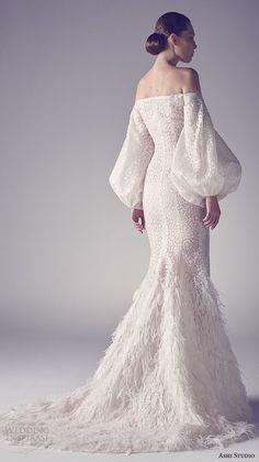 ashi studio couture 2015 off the shoulder bishop sleeves sheath wedding dress back view