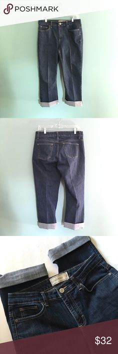 "NWOT Dark Denim Cuffed Capris NWOT Dark Denim Cuffed Capris // Merona brand  // sz 8 //  65% cotton, 33% polyester, 2% spandex // 15.5-16"" waist laid flat // 10"" rise // 22"" inseam // three front pockets // two back pockets // cute for summer! // compare measurements to your favorite capris // Can't model // 20% off 3+ Bundles // offers welcome// Same or next day shipping // 6.10.32 No trades Merona Pants Ankle & Cropped"
