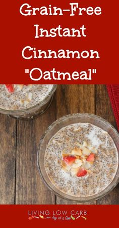 "Instant Cinnamon Oatmeal Ingredients cup 2 Tbsp chia seeds cup 2 Tbsp golden flax meal cup 2 Tbsp finely shredded unsweetened coconut 1 Tbsp tsp ground cinnamon For one serving of prepared ""Oatmeal"" cup hot water 2 Tbsp unsweetened coc Gluten Free Recipes, Low Carb Recipes, Real Food Recipes, Cooking Recipes, Healthy Recipes, Radish Recipes, Healthy Food, Low Carb Breakfast, Breakfast Recipes"