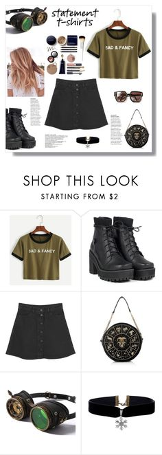 """Statement T's.."" by nadia-gadelmawla ❤ liked on Polyvore featuring WithChic, UNIF, Monki, CasualChic and statementshirt"