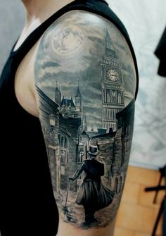 Illusion: My favorite tattoo by Russian artist Pavel Roch is the one shown above. The scene looks almost like a watercolor with soft shading and white highlights. And I wonder how this will look on the client's arm ten years from now. Another realistic tattooer worth viewing is Den Yakovlev. Photos © Pavel Roch Via Rebels Market. http://illusion.scene360.com/art/45271/tattoos-a-stroll-in-london/