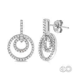 Pave diamond circle drop earrings set in 14k white gold.