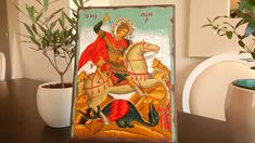 Seriograph icon crafted in canvas on aged natural wood. With color background. The halo of the image is silver. With this icon you will receive a free stand. Religious Icons, Saint George, Art Store, Christianity, Halo, Saints, Canvas, Videos, Silver