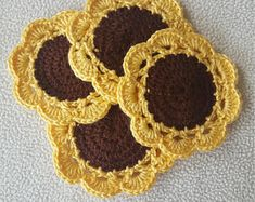 Sunflower Crochet Coasters - Yellow Flower Coaster - Fall Decor - Gift for family- Rustic Decor