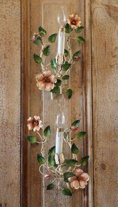 Antique Rare Pair Italian Tole Wild Rose Electric Wall Sconces-