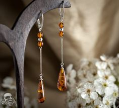 Sterling silver and baltic amber earrings
