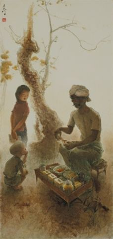 Lee Man Fong - Food vendor (sold for $ 218,267) Bali Painting, Indonesian Art, Dutch East Indies, Dutch Colonial, Art N Craft, Pretty Art, Vincent Van Gogh, Southeast Asia, Australia