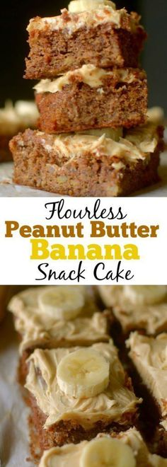 Flourless Banana Snack Cake is fluffy and moist made with only 5 real ingredients and topped with a peanut butter frosting! Can be paleo and vegan too! | Gluten-Free Cake | Healthy Banana Cake | Low Carb Baking | Grain-Free | Dairy-Free | Easy Paleo Cake
