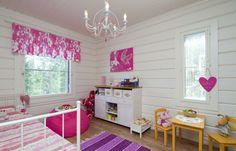 Kaunis lastenhuone. Valance Curtains, Loft, Decorations, Bed, Furniture, Home Decor, Decoration Home, Stream Bed, Room Decor