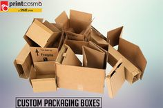 Print Cosmo is One-stop shop for custom printed boxes and Custom Packaging Boxes wholesale that fit to your budget. Order custom printed boxes online with low minimums, affordable prices, and fast turnaround. Custom Packaging Boxes, Box Packaging, Custom Cardboard Boxes, Custom Printed Boxes, Printing Services, Free Design, Free Shipping, Prints