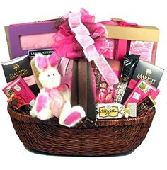 Sunshine in a box filled with sugar free candy chocolate by gift basket village pretty in pink easter gift basket negle Gallery